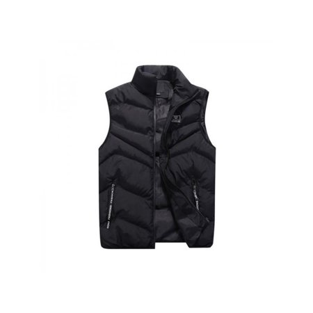 Mens Winter Zipper Vest Sleeveless Puffer Warm Outwear](blanc noir puffer vest)