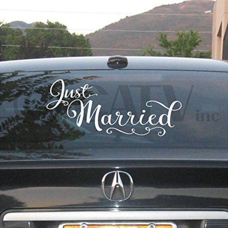Just Married 10x22 vinyl lettering wall decal sticker art home decor