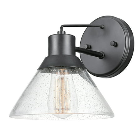 Globe Electric Bolton 1-Light Matte Black Outdoor Indoor Wall Sconce, 44264