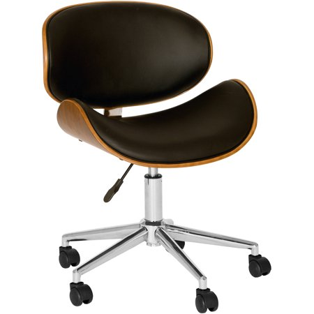 Walnut Veneer Mdf - ARMEN LIVING Daphne Modern Chair, Black And Walnut Veneer Back and Chrome