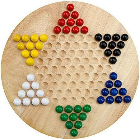 Brybelly All Natural Wood Chinese Checkers with Wooden Marbles - Toy Clackers