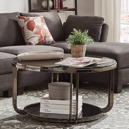 Chelsea White Coffee - Chelsea Lane Black Nickel Plated Coffee Table with Lower Storage