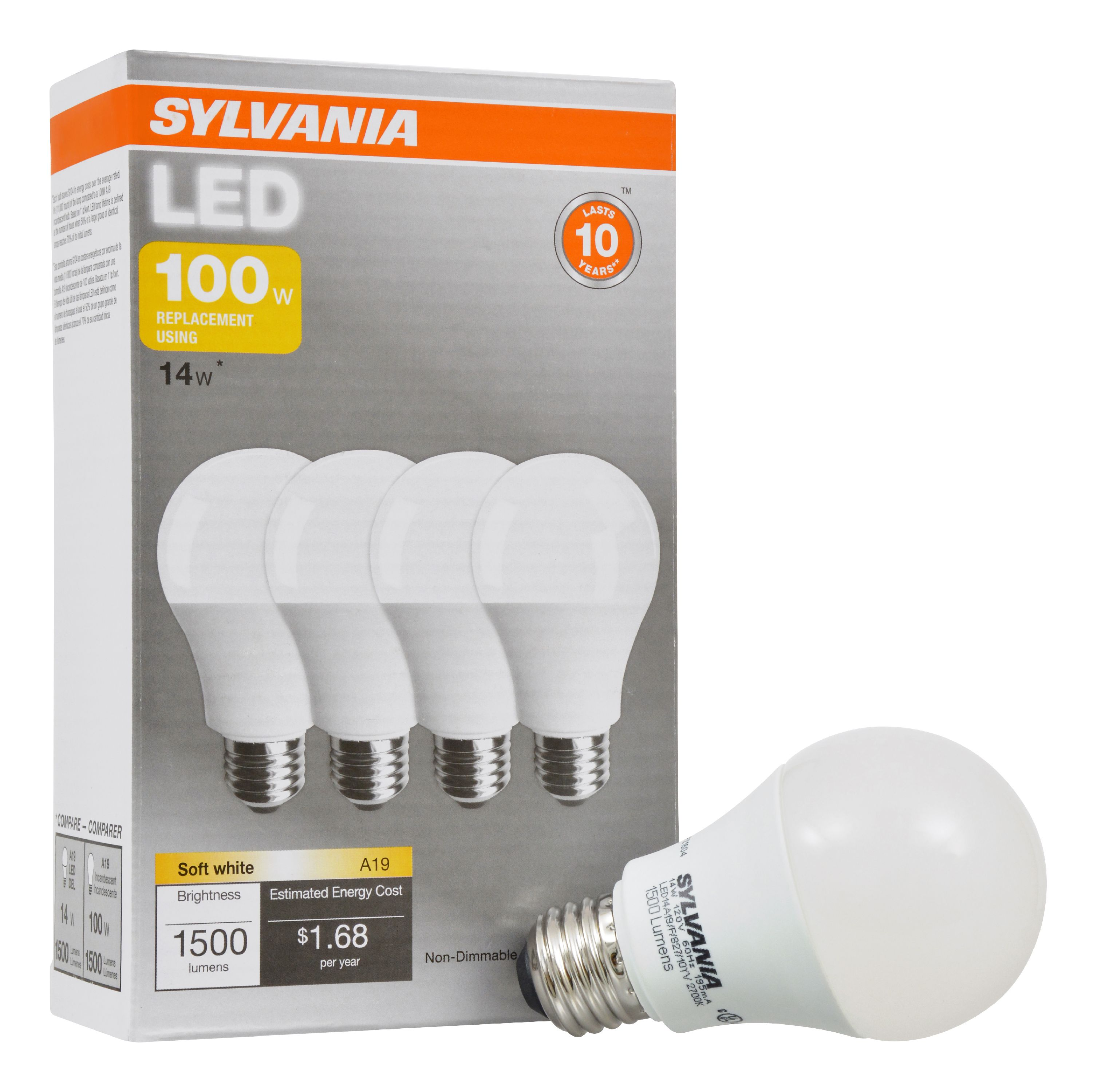 Sylvania LED Light Bulbs, 14W (100W Equivalent), Soft White Bulb, 4-count