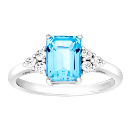 2 ct Natural Swiss Blue & White Topaz Ring in Sterling