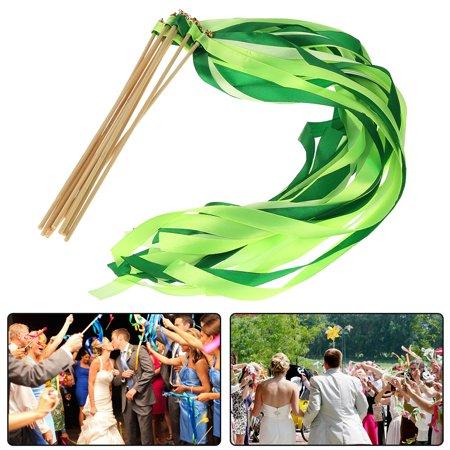 10pcs 3 Colors Ribbon Streamers Stick Wands Twirling Wedding DIY Bag ...
