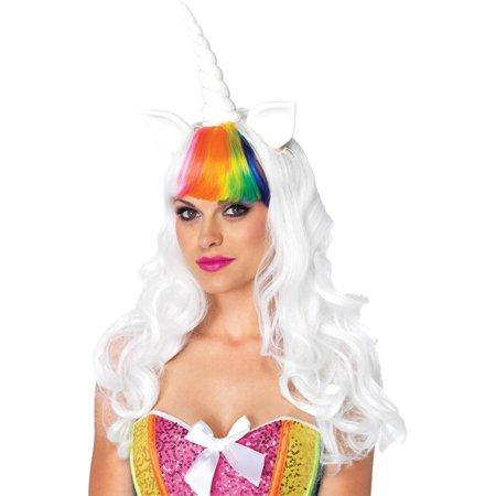 Rainbow Unicorn Wig and Tail Kit Adult Halloween Accessory](Rainbow Unicorn Wig)