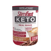 SlimFast Keto Meal Replacement Shake Powder, Creamy Coffee Cappuccino, 13.4 oz Canister (10 Servings)