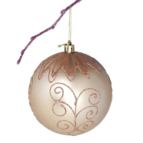 Perfect Holiday 3.9'' Shatterproof Handpainted Flower Christmas Ball Ornament