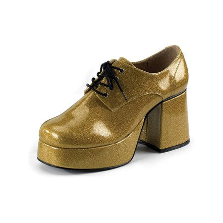 Mens Platform Shoes Gold Glitter Disco Shoes 3 1/2 Inch Chunky Heel MENS SIZING for $<!---->