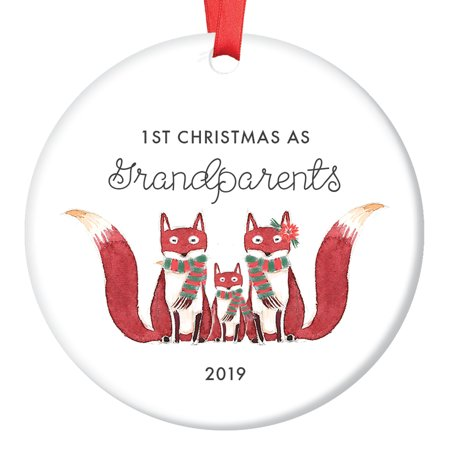 Grandparents Ornament 2019, Fox Ornament Gift for New Grandma & Grandpa, First Christmas Grandmother Grandfather Cute Foxes Ceramic Present Keepsake 3