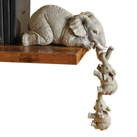 Elephant Sitter Hand-Painted Figurines - Set of 3, Mother and Two Babies Hanging off the Edge of a Shelf or Table