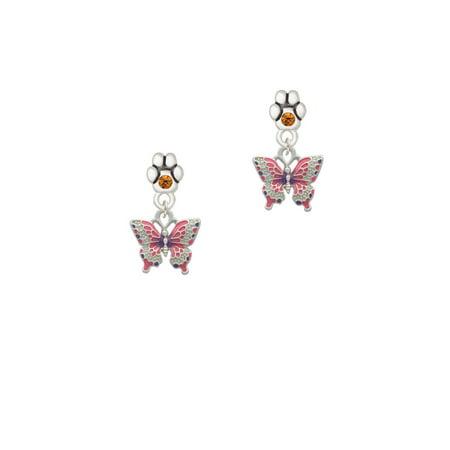 Small Butterfly Earrings - Small Hot Pink & Purple Butterfly - Yellow Crystal Paw Earrings