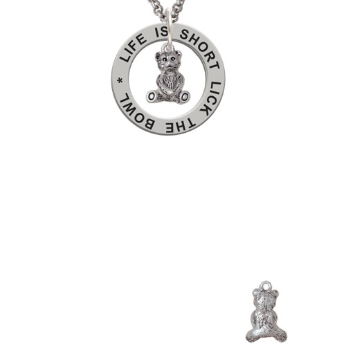 Mini Teddy Bear Life Is Short Lick The Bowl Affirmation Ring Necklace