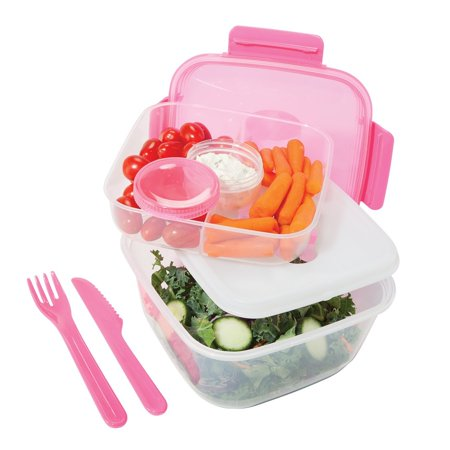 Oggi Chill To Go Food Container Lunchbox Set- Includes Knife, Fork, Tray,