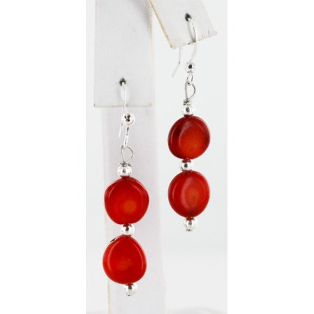 Coral Disc Earrings (Certified Authentic Navajo .925 Sterling Silver Hooks Natural Coral Disks Native American Earrings)