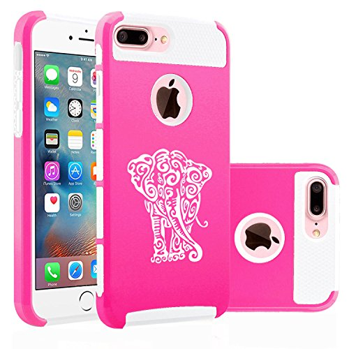 For Apple iPhone (7 Plus) Shockproof Impact Hard Soft Case Cover Tribal Elephant (Hot Pink-White)