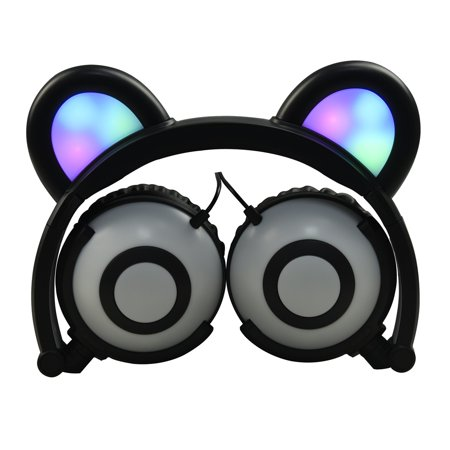 Jamsonic Multicolored LED Light Up Foldable Panda Ear Headphones use for Phones, PC, MP3, MP4, Kids, Childrens, Boys, Girls - Childrens Dressing Up Accessories