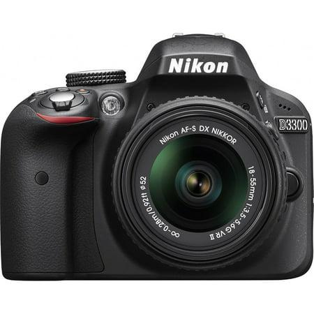 Nikon D3300 24.2 MP CMOS Digital SLR with AF-S DX NIKKOR 18-55mm f/3.5-5.6G VR II Zoom Lens (Black) (Certified