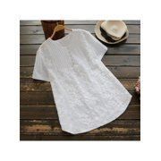 MarinaVida Women Casual Loose Cotton Linen Button Short Sleeve T Shirt Blouse Tunic Tops Summer Tee