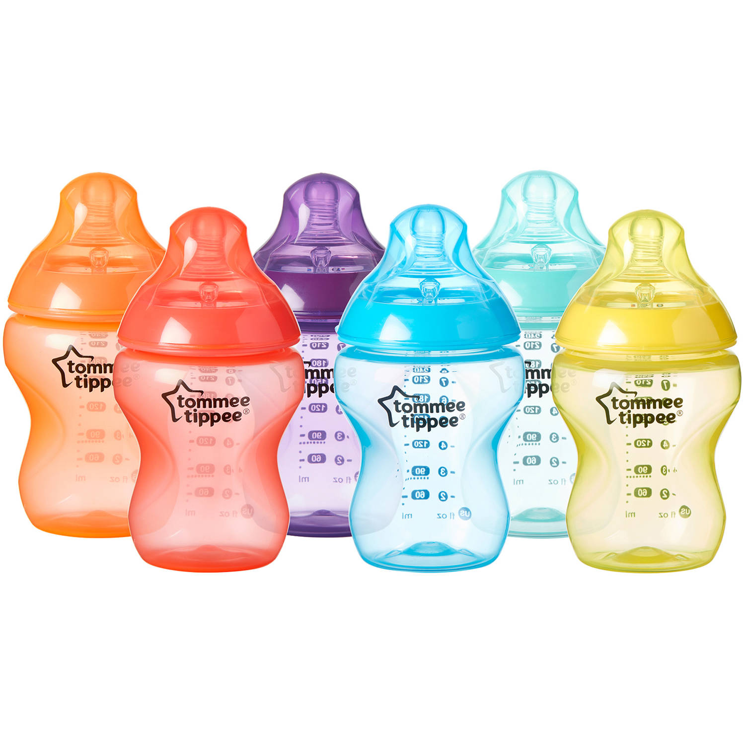 Tommee Tippee Closer to Nature 9-oz Fiesta Colored Baby Bottles, BPA-Free, 6pk