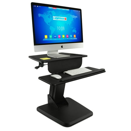 mount it sit stand workstation standing desk sit stand converter for desktop monitor. Black Bedroom Furniture Sets. Home Design Ideas