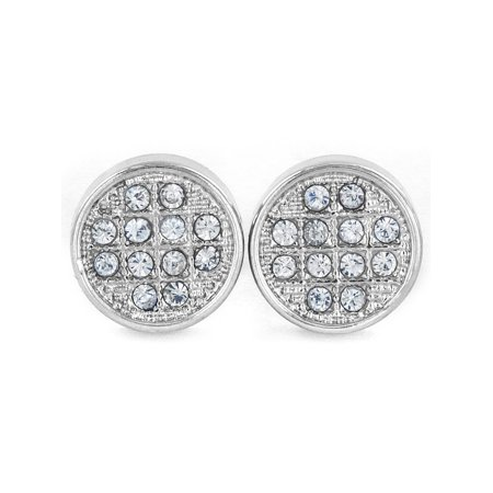 Silver Micro Pave Crystal Circle Stud Post Earring