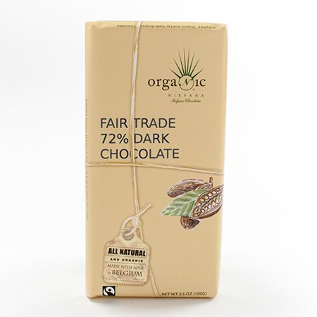 Organic Fair Trade Dark Belgian Chocolate Bar (72%) by Nirvana (3.5 ounce)