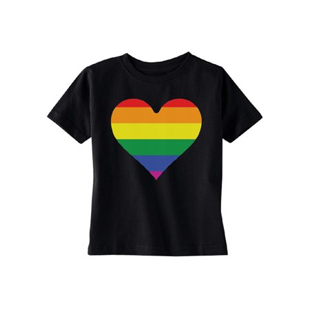 Rainbow Heart Flag TODDLER T-shirt Gay Pride Walk LGBT Kids Black 4T
