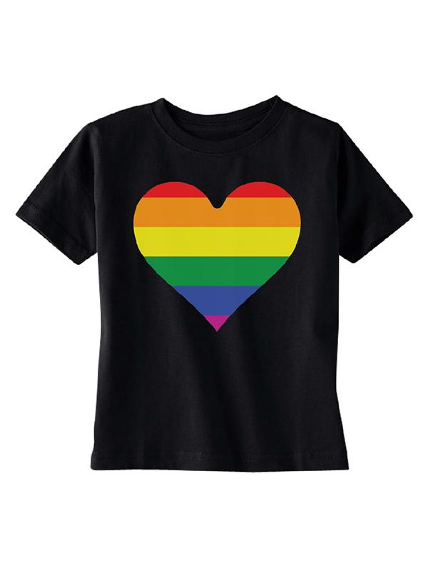 Rainbow Heart Flag TODDLER T-shirt Gay Pride Walk LGBT Kids Black 4T