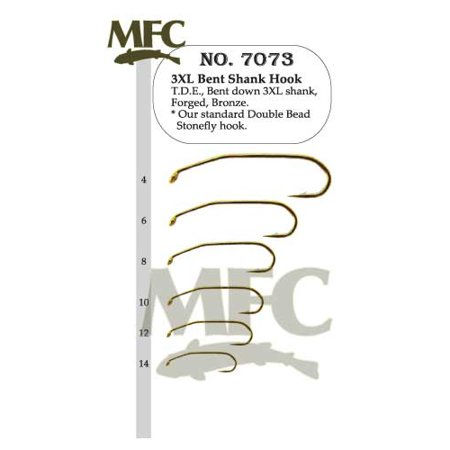 Montana Fly Company 3XL Bent Shank Hook 7073 - 25 Pack (Long Dry Fly Hook)