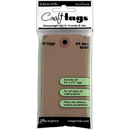 "Inkssentials Brown Kraft Surfaces Tag #5, 4.5"" x 2.375"", 20pk"