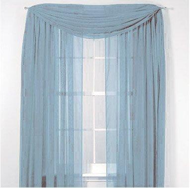 "LuxuryDiscounts Beautiful Elegant Solid Slate Blue Sheer Scarf Valance Topper 40"" X 216"" Long Window Treatment... by"