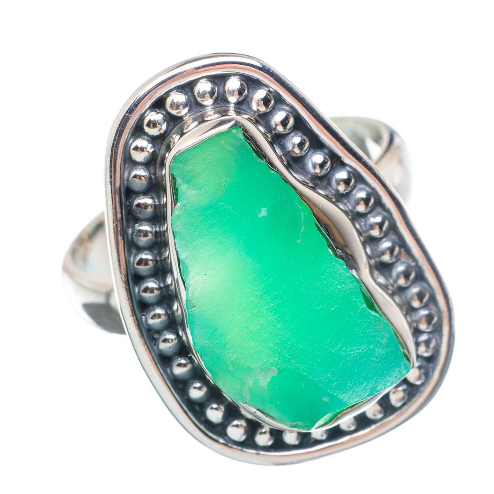 Ana Silver Co Rough Chrysoprase Ring Size 7.5 (925 Sterling Silver) Handmade Jewelry RING898219 by Ana Silver Co.