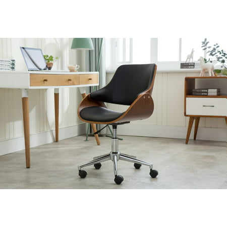 Porthos Home Adjustable Height Mid Century Modern Office Desk Chair, Faux Leather and Wood with Caster Wheels, Easy Assembly Castered Desk Chair