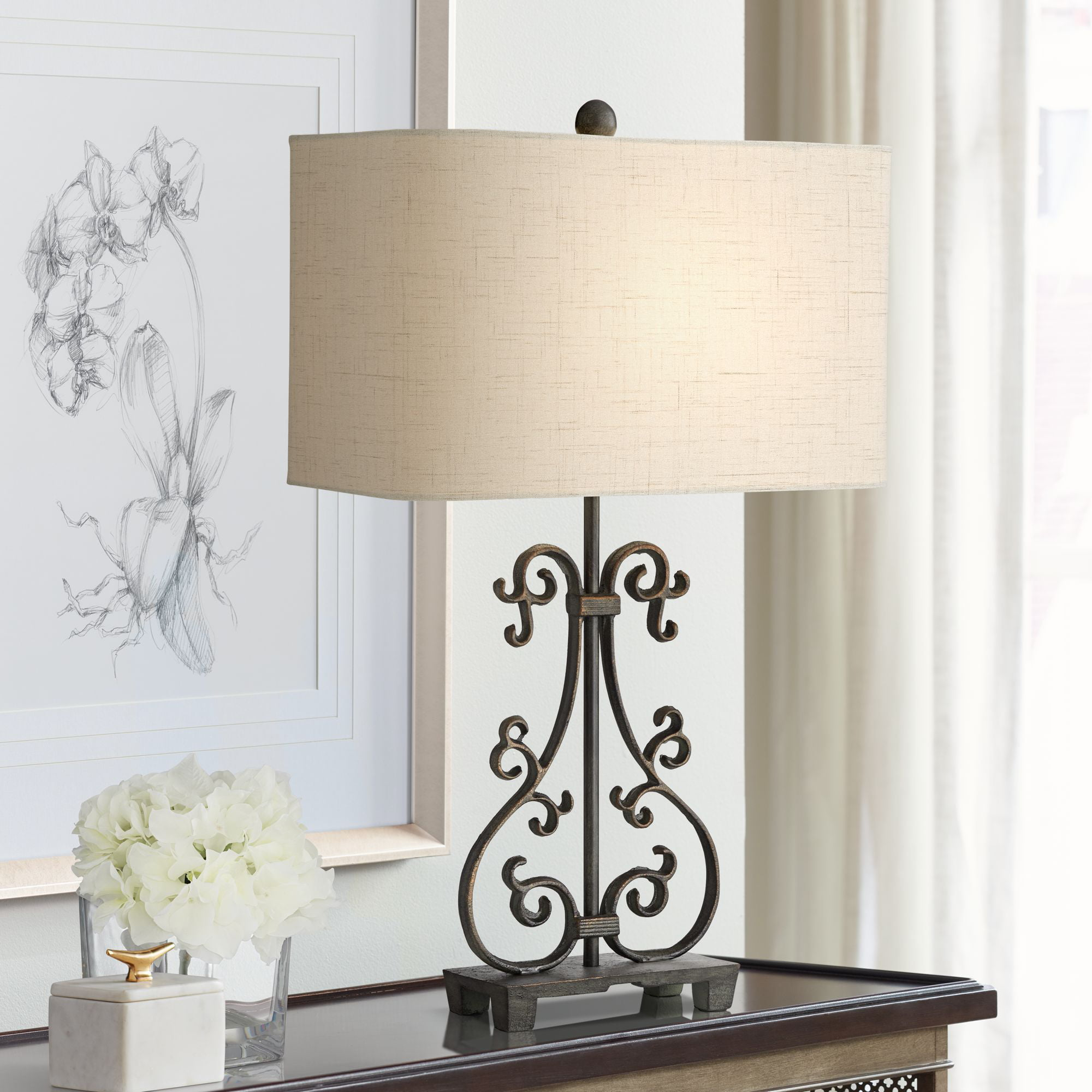 Franklin Iron Works Traditional Rustic Table Lamp Scroll ...