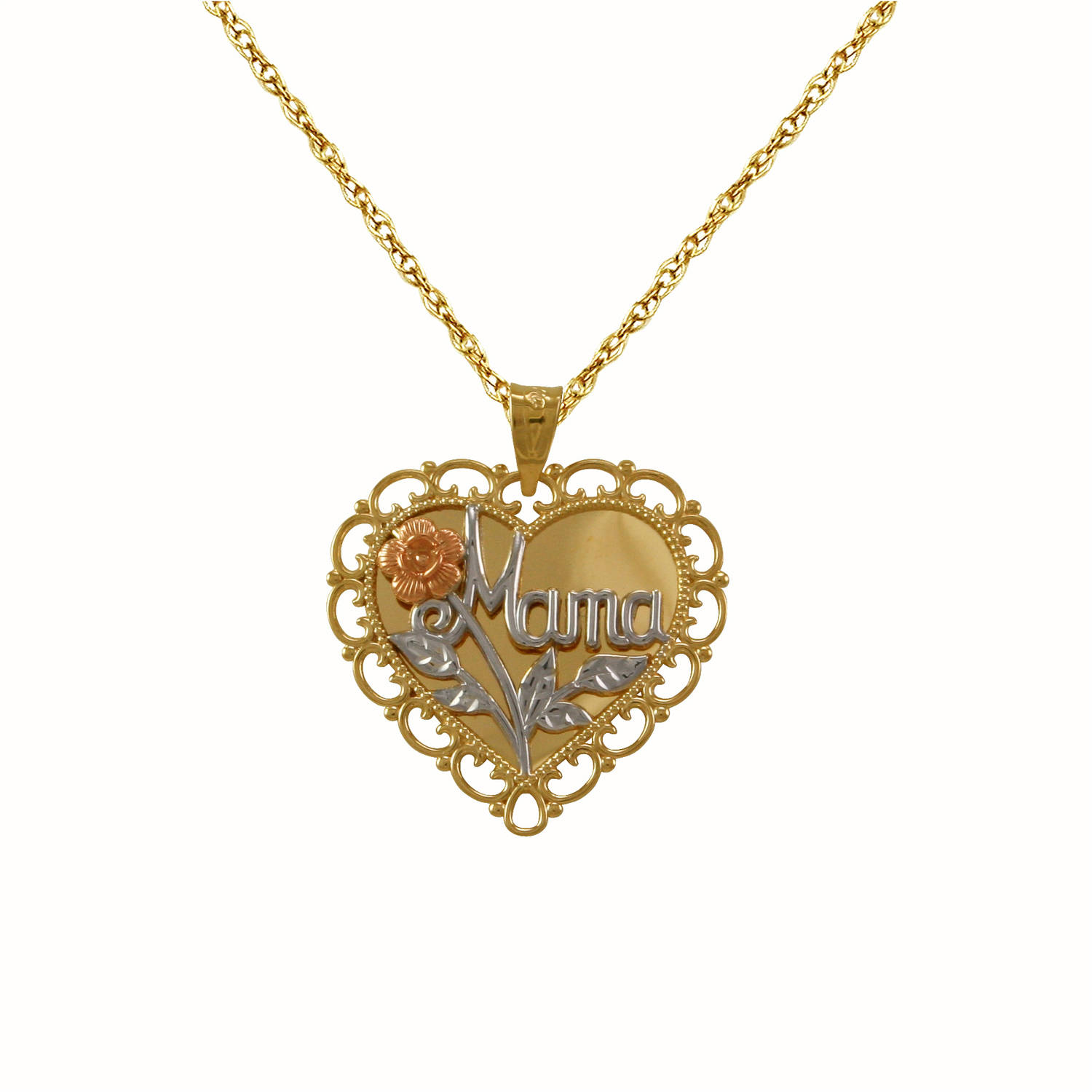 Simply Gold Mama Heart 14kt Gold Pendant, 18""