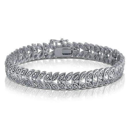 Genuine 0.02 Carat Natural Diamond Accent Leaf Bracelet  In 14K  White Gold Plated