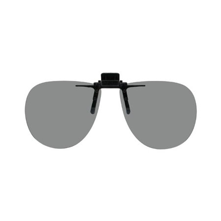 Aviator Clip (Polarized Clip-on Flip-up Plastic Sunglasses - Aviator - 58mm Wide X 52mm High (134mm Wide) - Polarized Grey Lenses)
