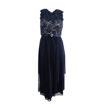 R&M Richards Women's Plus Size Sequined Lace Chiffon Gown (18W, (Tadashi Shoji Sequin Lace Gown Plus Size)