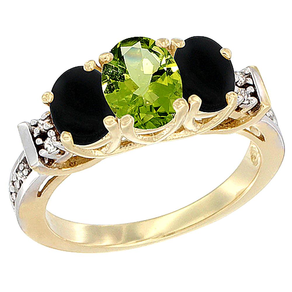 10K Yellow Gold Natural Peridot & Black Onyx Ring 3-Stone Oval Diamond Accent by WorldJewels