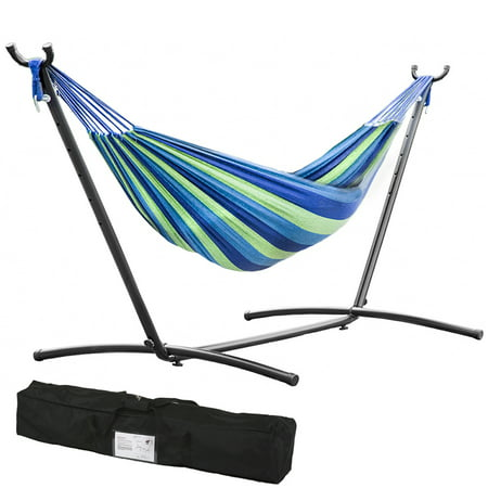 Hammock Stand With Space Saving Steel Stand Includes Carrying Case Blue