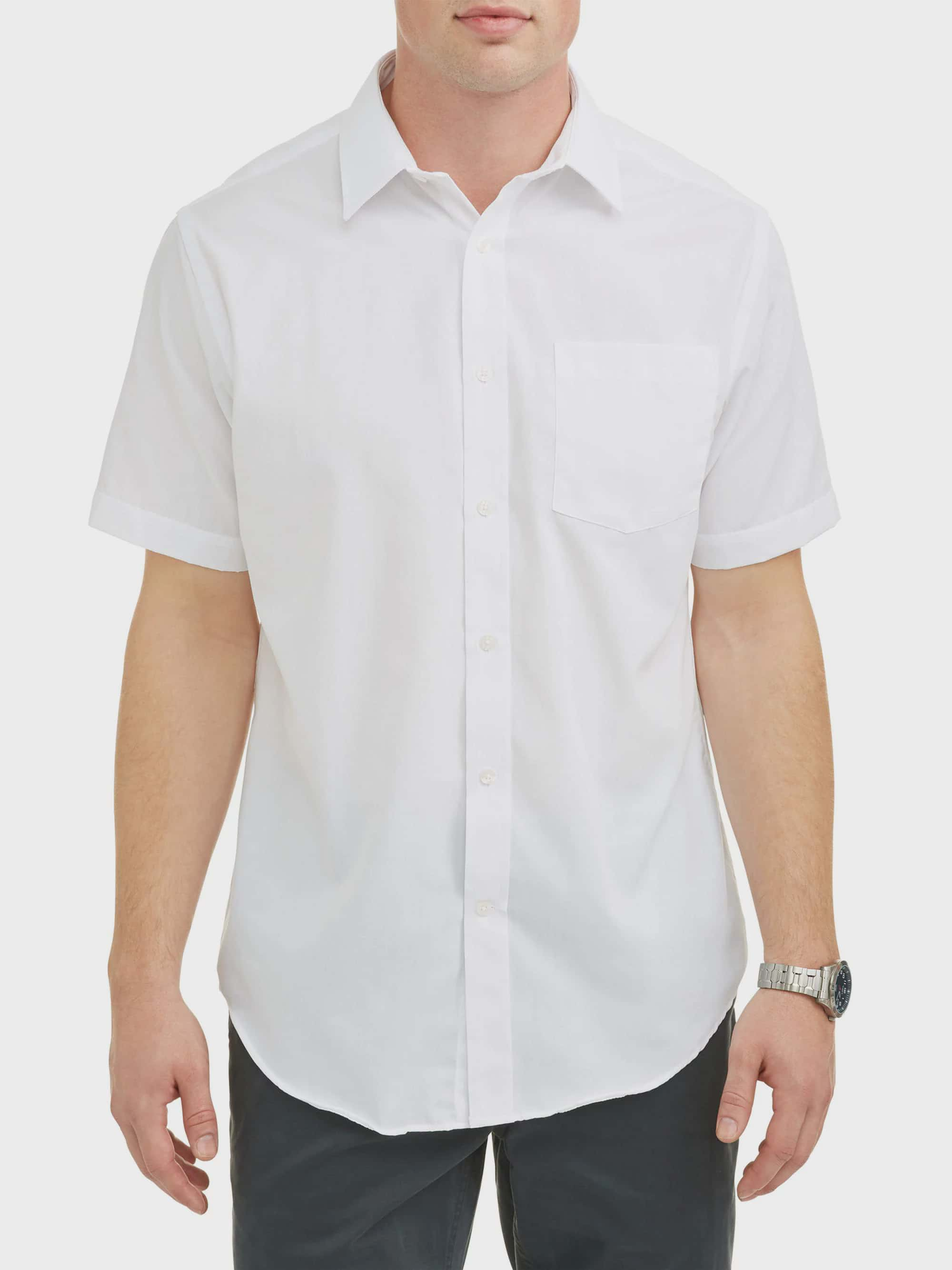 Large Tall Ed Garments Mens Big And Tall short sleeve Button Down shirt WHITE