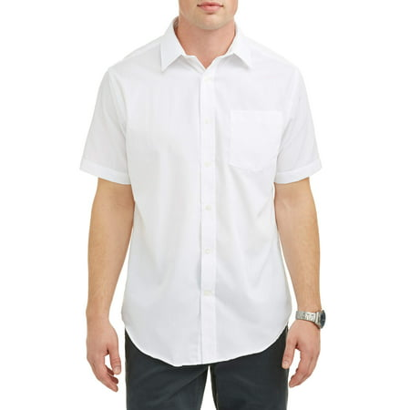 One Button Oxford Dress Shirt - Men's Short Sleeve Dress Shirt