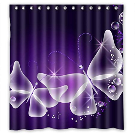 HelloDecor Purple Butterfly Angel Shower Curtain Polyester Fabric Bathroom Decorative Curtain Size 66x72 Inches