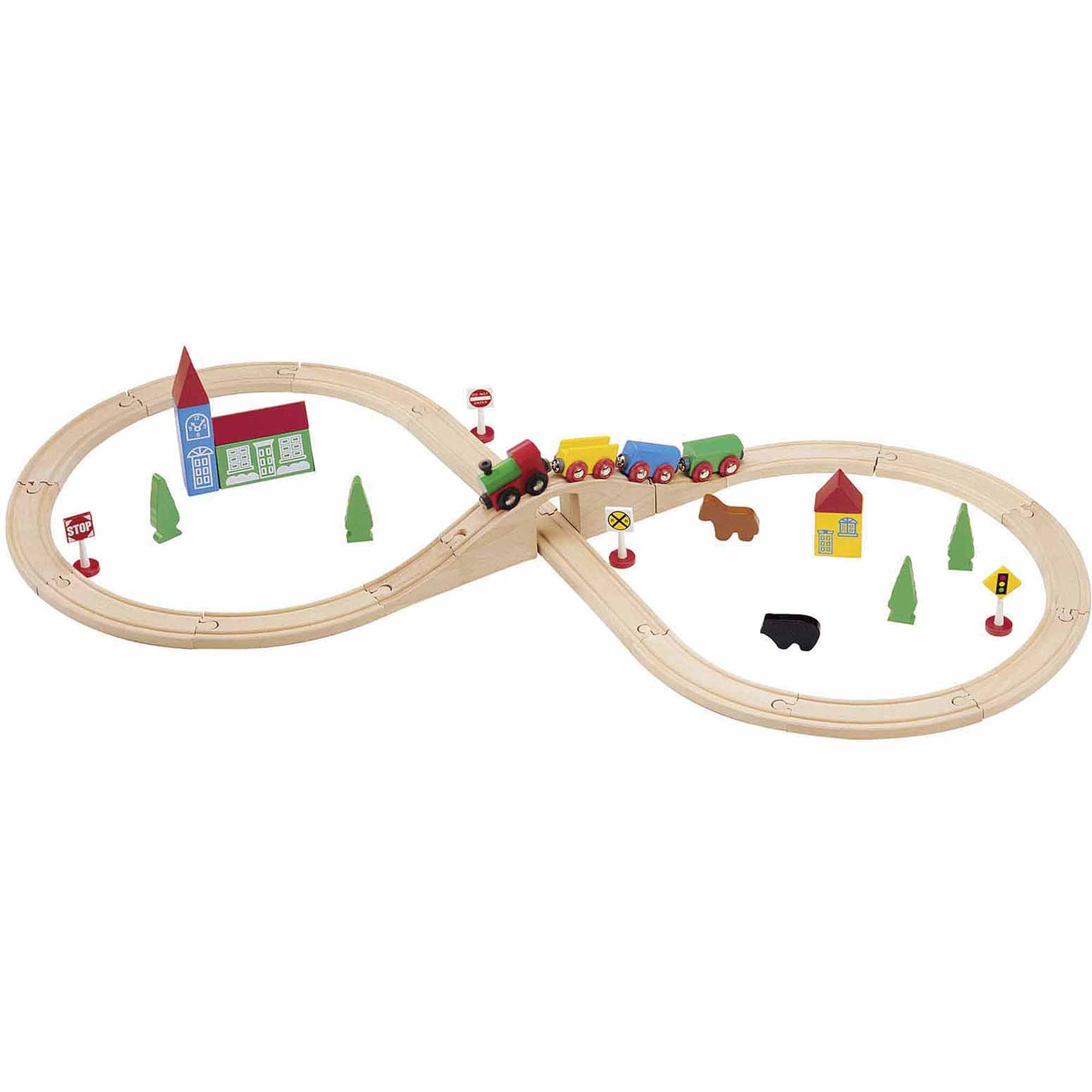 Maxim Enterprise 37-Piece Figure 8 Wooden Train Set by WoodenTracks.com Inc