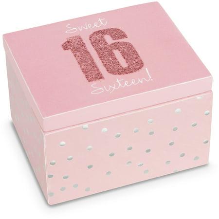 Pavilion - Sweet 16 Sixteen! - Mini Jewelry Box 2.25 Inch x 2 Inch - Silver Polka Dot Birthday ()