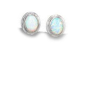 October Birthday! White Lab-Created Opal Earrings Set in Sterling Silver by