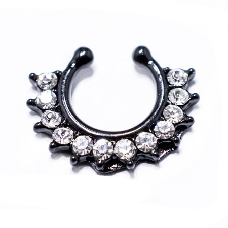 Faux Septum Ring Black Ion Plated with Set CZ Gems