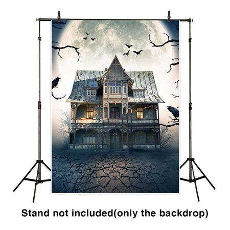 HelloDecor Polyster 5x7ft Halloween Backdrop Retro Haunted House on the Full Moon Night Background for Photograpphy or Decoration - Full Moon On Halloween Night