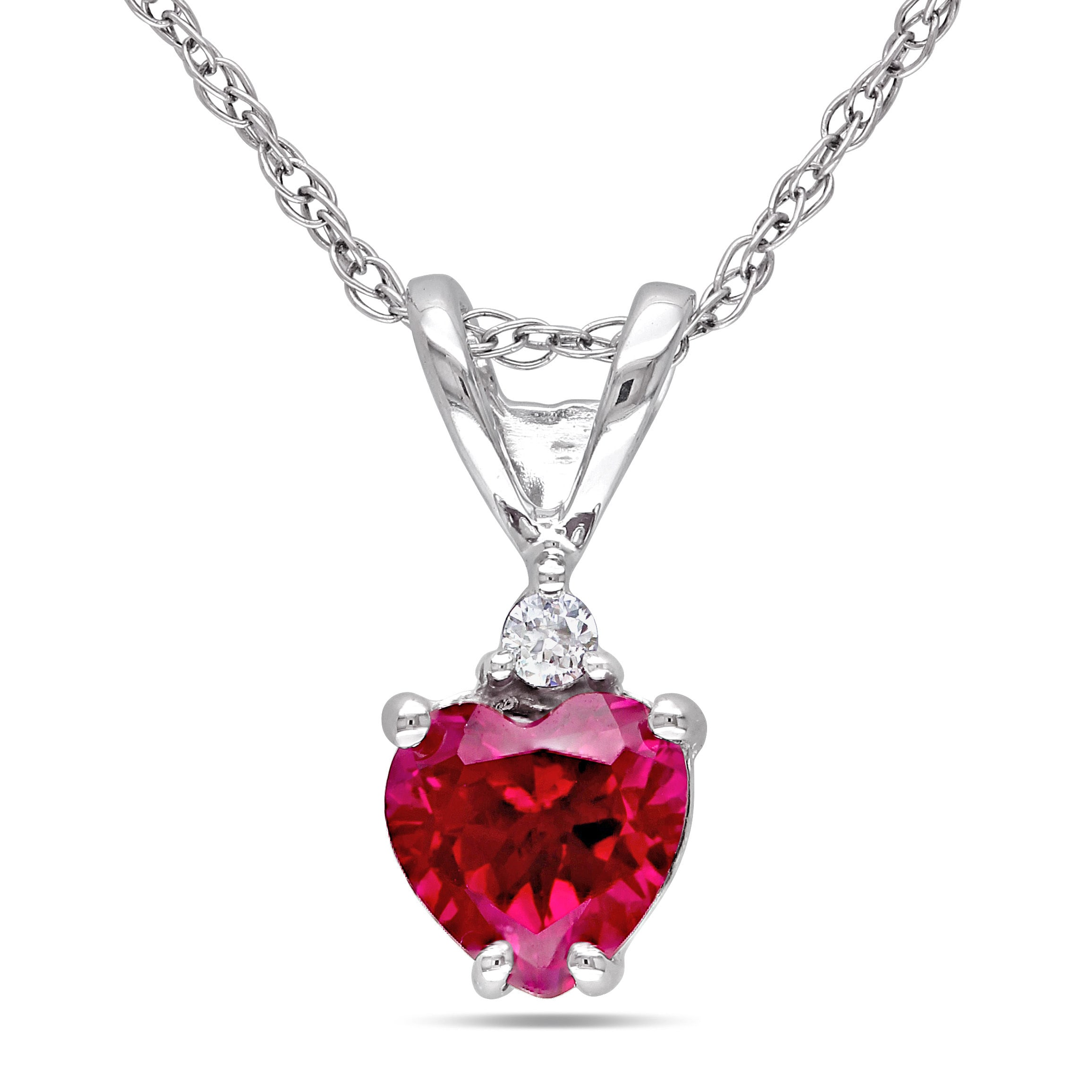 Miadora 10k White Gold Created Ruby and Diamond Heart Necklace by Overstock